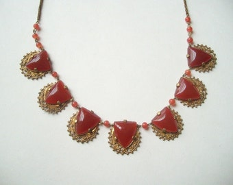 Vintage Art Deco necklace, carnelian Czech glass linked necklace, open back filigree, brass filigree, burnt orange glass, filigree Deco