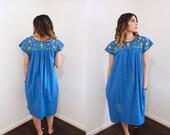 Vintage Deep Blue Mexican Fiesta Dress w/Pockets