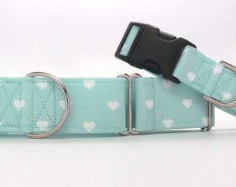 Swiss Hearts MINT Dog Collar (Martingale, Buckle, or Tag)