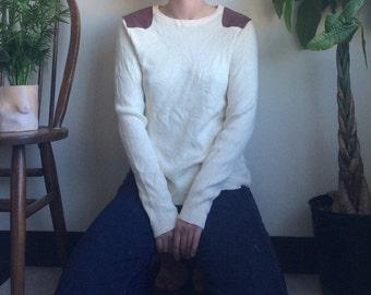 Vintage RL Creme Sweater with Leather Shoulder Pads