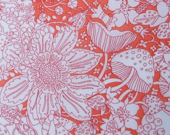"Liberty of London Fabric Scrap Coral and White Floral ""Fairyland"" Cotton Tana Lawn 7 x 13"""