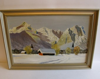 Framed Oil Painting Winter Scene Such Lovely Colors.
