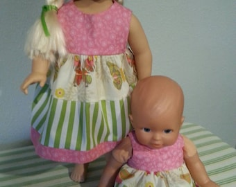 Set 2 handmade cotton Doll Dresses. .. fits 16-18 inch and 12-14 inch dolls