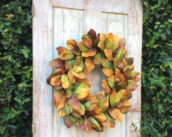Fixer upper wreath,Southern wreath,Magnolia Leaf Wreath,fixer upper wall decor, Southern Magnolia Wreath,wreath with Magnolia Leaves