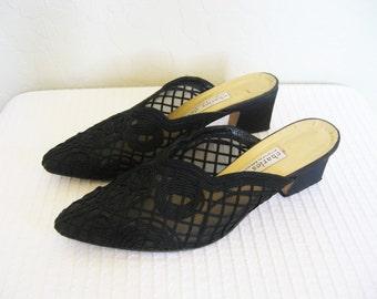 Charles David Mesh Embroidered Mules / designer vintage black slip on heels / women's shoes 7.5 8