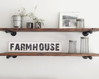 "Industrial Shelf. | Industrial Black Pipe Shelving (11""W) 