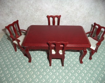 1:12 scale Dollhouse Miniature Dining Room Set (Cherry color)