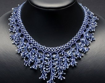 Woven blue glass bead necklace