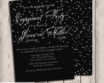 Engagement Party Invitation,  Silver Lights,  Bokeh String Lights, Printable,  Engagement Party, Digital, Digital Invitation, 5x7, Lights