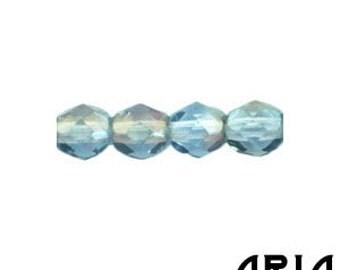 SAPPHIRE TWILIGHT: 4mm Faceted Round Firepolish Czech Glass Beads (50 beads per strand)