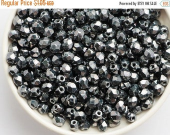 SALE -10% 3mm Hematite (50psc) Small Czech Fire Polished Glass Beads Polish Faceted Round