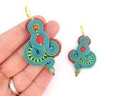 Teal Dangle Earrings , Soutache Earrings, Unique Handmade Earrings , Colorful Soutache Jewelry, Teal and Red