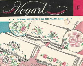 An Origingal VOGART VINTAGE TRANSFER pattern .  Graceful pattern motifs for your best pillow cases.  Embroider the cross stitch design..