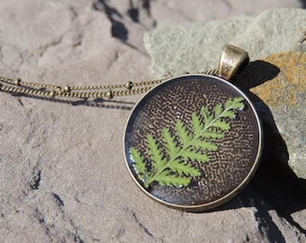 Pressed Fern Resin Necklace