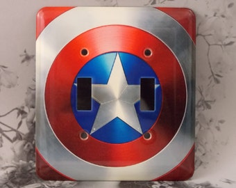 Metal Captain America Double Light Switch Cover - Super Hero - 2T Double Toggle Switch Cover