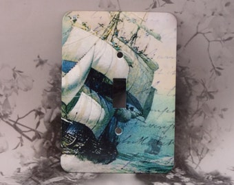 Metal Tall Ship Light Switch Cover - Tall Ship Switch Plates - 1T Single Toggle