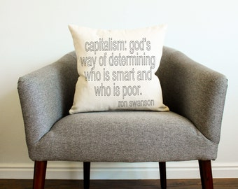 Capitalism Ron Swanson Quote Pillow