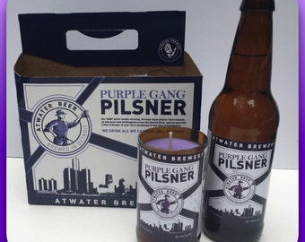 Soy candle using a recycled Purple Gang Pilsner beer bottle