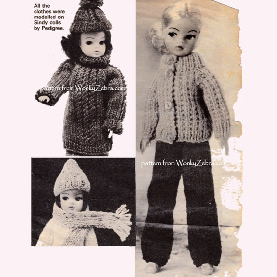 Vintage Knitting Pattern Sindy dolls clothes 11 to 12 inch ...