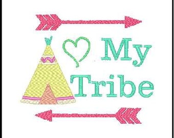Love my tribe embroidery design tribal embroidery arrow embroidery teepee embroidery design