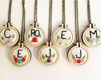 Hand Embroidery Necklace, Made to Order, Mini Hoops, Monogram
