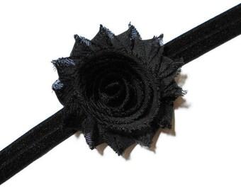 Girls Black Flower Headband - Black Shabby Flower Headband - Black Chiffon Flower Headband - Fold Over Elastic