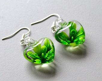 Earrings heart murano green flower