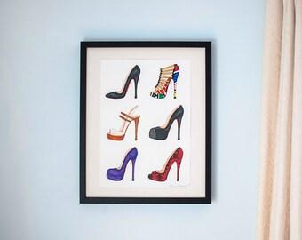 Original Watercolour Illustration, A3 - 42 x 29.7cm, Shoes