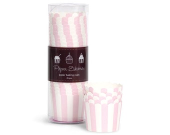 Light Pink Marshmallow Striped Baking Cups (25 Count)