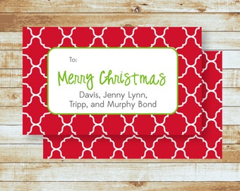Personalized Holiday Gift Tags / Merry Christmas Moroccan Tiles