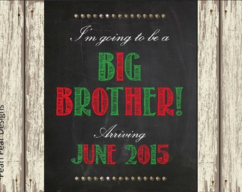 Christmas pregnancy announcement I'm going to be a big brother/ big sister Chalkboard Printable digital file - pregnancy announcement 8x10
