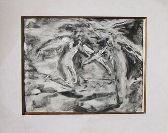 ORIGINAL ART PRINT-Vintage Monotype-Handmade Black & White Print