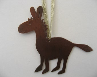 Donkey hanging decoration in brass/copper