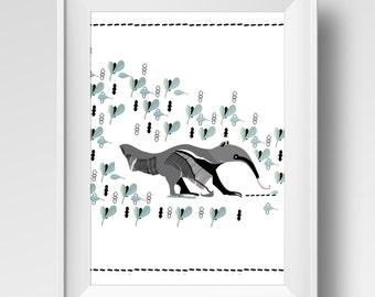 Poster 8x10 Anteater, ideal for bedroom, kids bedroom, sweet illustration,grey, green, black and white. Digital printing