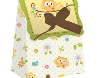72 Happi Tree by Dena (c) Owls Baby Shower Favor Bags with Ribbons  ~ Great Value!