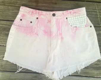 Vintage Hand Studded High Waisted jean shorts / Floral Pink and White ombre / Jean Cut Off Shorts