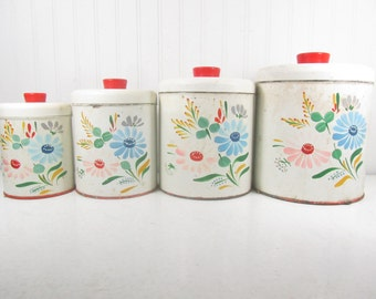 Ransburg Hand Painted Canister Set, Retro canisters, Metal Canister, Storage, Kitchen Canisters, Mid Century