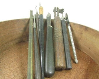 Vintage Tool, dental tool,wood working tool, wood handle,ruler, knife,collectible tools, Rust, Metal Tool, wood carving, Wood tool,