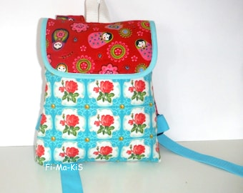 Children's rucksacks of backpack vintage turquoise red cotton 26 cm x 21 cm x 7 cm