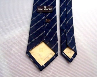 "Free Shipping"" GUY LAROCHE PARIS Neckties Striped Hand Made in Spain"
