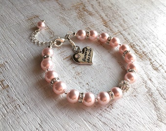 Sister-of-the-Bride Gift Ideas for Sister of the Bride Gift for Sister-of-the-Groom Wedding Gifts for Sister Bridesmaid Blush Pearl Bracelet