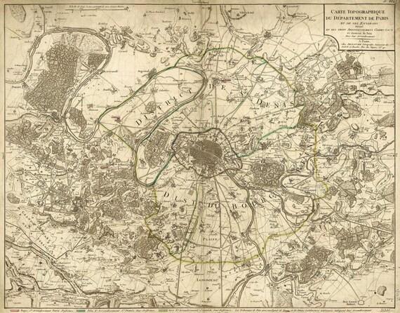 "Old map of Paris (1895) Paris map in 5 sizes up to 43""x55"" (109x140cm) Restoration Hardware Style Vintage map of Paris, France, Home Decor"