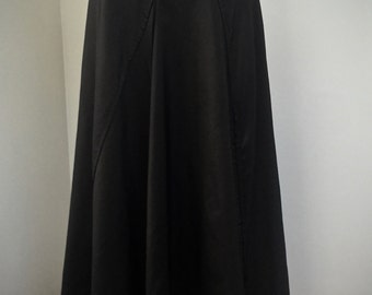 Vintage 1990s Floor Length Bronze Taffeta Skirt. Flared with diagonal panels and front slit.