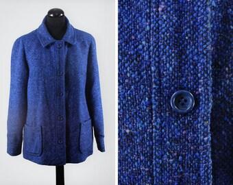 1960s Boxy Flecked Blue Wool Jacket