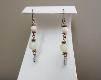 Shabby Chic Dangle Drop Pastel Neon Yellow Pink Green Summery Long Boho Bohemian Indie Chic Dangle Earrings