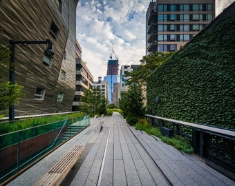 Buildings and walkway on The High Line, in Chelsea, Manhattan, New York. | Photo Print, Stretched Canvas, or Metal Print.