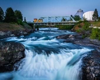 Spokane Falls and the Howard Street Bridge in Spokane, Washington. | Photo Print, Stretched Canvas, or Metal Print.