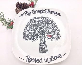 The Original Red Bird Grandmother Nana Family Tree Grandchildren Personalized Custom Grandparents Grandma Plate