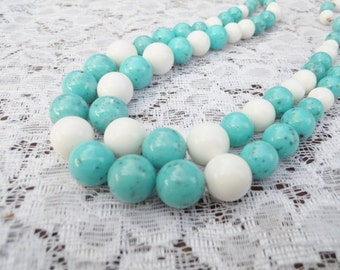 2 Strand Necklace Robin Egg and White Beads