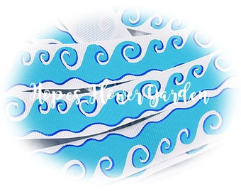 """3 Yards 7/8"""" Sandy Summer Blue Ocean Waves with Blue Foil on High Quality White Grosgrain Ribbon - Sandy Summer Collection"""